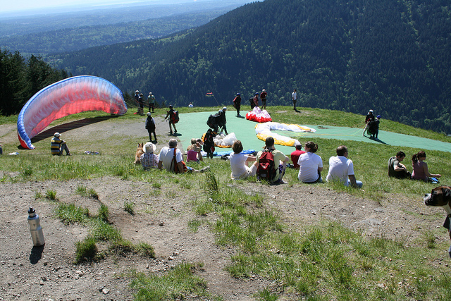 photo by Paragliders prepping for launch   Flickr - Photo Sharing!